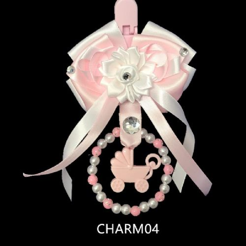 Stunning Hand Craft Pram Charm/White with Pink Ribbon/Pram